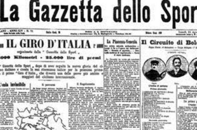 La Gazzetta anunciando el comienzo de la carrera